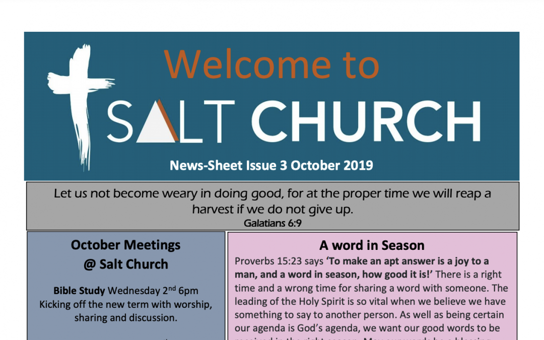 Salt Church Monthly News Sheet #3 Oct 2019