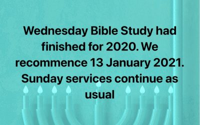 Wednesday Bible Studies – Finished for 2020